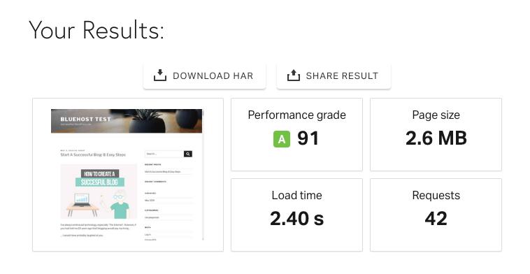 Bluehost Website Pingdom Speed Test
