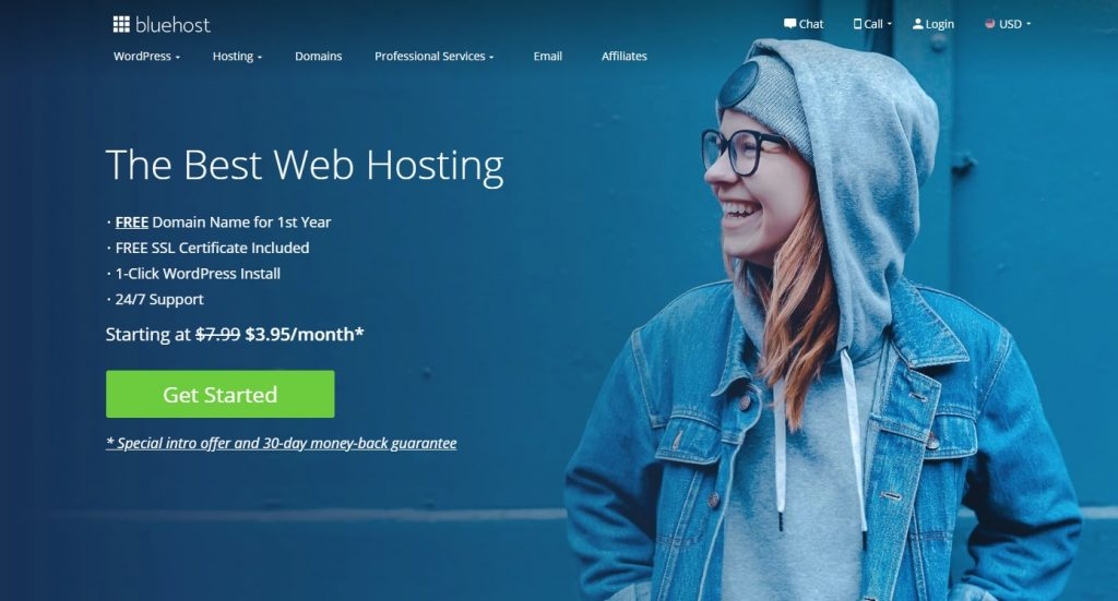 Bluehost Hosting Homepage