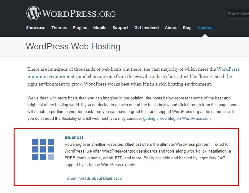 WordPress Recommended Hosting Provider Bluehost